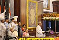 The President, Shri Pranab Mukherjee addressing during his farewell ceremony, at Central Hall of the Parliament, in New Delhi.jpg