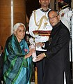 The President, Shri Pranab Mukherjee presenting the Padma Shri Award to Prof. Ved Kumari Ghai, at a Civil Investiture Ceremony, at Rashtrapati Bhavan, in New Delhi on March 31, 2014.jpg
