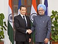 The Prime Minister, Dr. Manmohan Singh meeting the President of France, Mr. Nicolas Sarkozy, in New Delhi on December 06, 2010.jpg