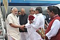 The Prime Minister, Shri Narendra Modi being received by the Governor of Bihar, Shri Ram Nath Kovind and the Chief Minister of Bihar, Shri Nitish Kumar, on his arrival at Ara, in Bihar on August 18, 2015.jpg