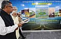 The Prime Minister, Shri Narendra Modi inaugurating the Integrated Command and Control Centre for Naya Raipur Smart City, in Chhattisgarh on June 14, 2018. The Chief Minister of Chhattisgarh, Dr. Raman Singh is also seen (1).JPG