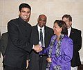 The Prime Minister of the Republic of Trinidad and Tobago Mrs. Kamla Persad-Bissessar being received by the Minister of State for Communications and Information Technology, Shri Sachin Pilot, in New Delhi on January 05, 2012.jpg