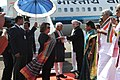 The Vice President, Shri M. Hamid Ansari and Smt. Salma Ansari being received by the Governor of Kerala, Shri Justice P. Sathasivam, at the Naval Cochin Airport on January 11, 2016.jpg
