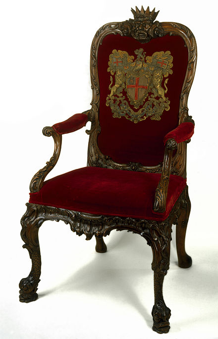 The ceremonial seat of the Chairman of the Court of Directors of the East India Company, and subsequently that of the Secretary of State for India