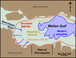 Thermopylae - Depiction of ancient and modern shoreline.