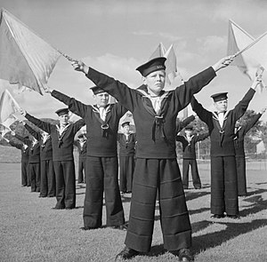 Sea Cadets (United Kingdom) - Sea Cadets practice semaphore during signalling class, 1943