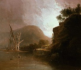 Two Men Fishing in a Mountain Lake