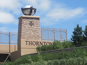 Thornton, Colorado - Thornton welcome sign on Interstate 25