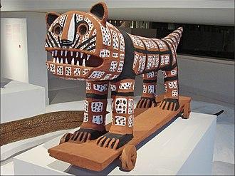 Bharat Bhavan - A tribal art tiger sculpture from Bastar, Bharat Bhavan collection