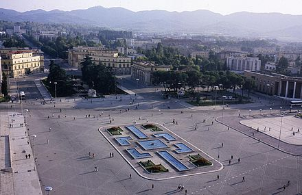 In 1988, the first foreigners were allowed to walk into the car-free Skanderbeg Square in Tirana.