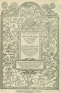 The frontispiece of Sir Henry Billingsley's first English version of Euclid's Elements, 1570