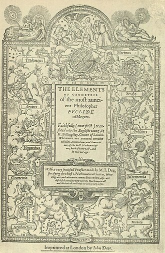 Geometry - The frontispiece of Sir Henry Billingsley's first English version of Euclid's Elements, 1570
