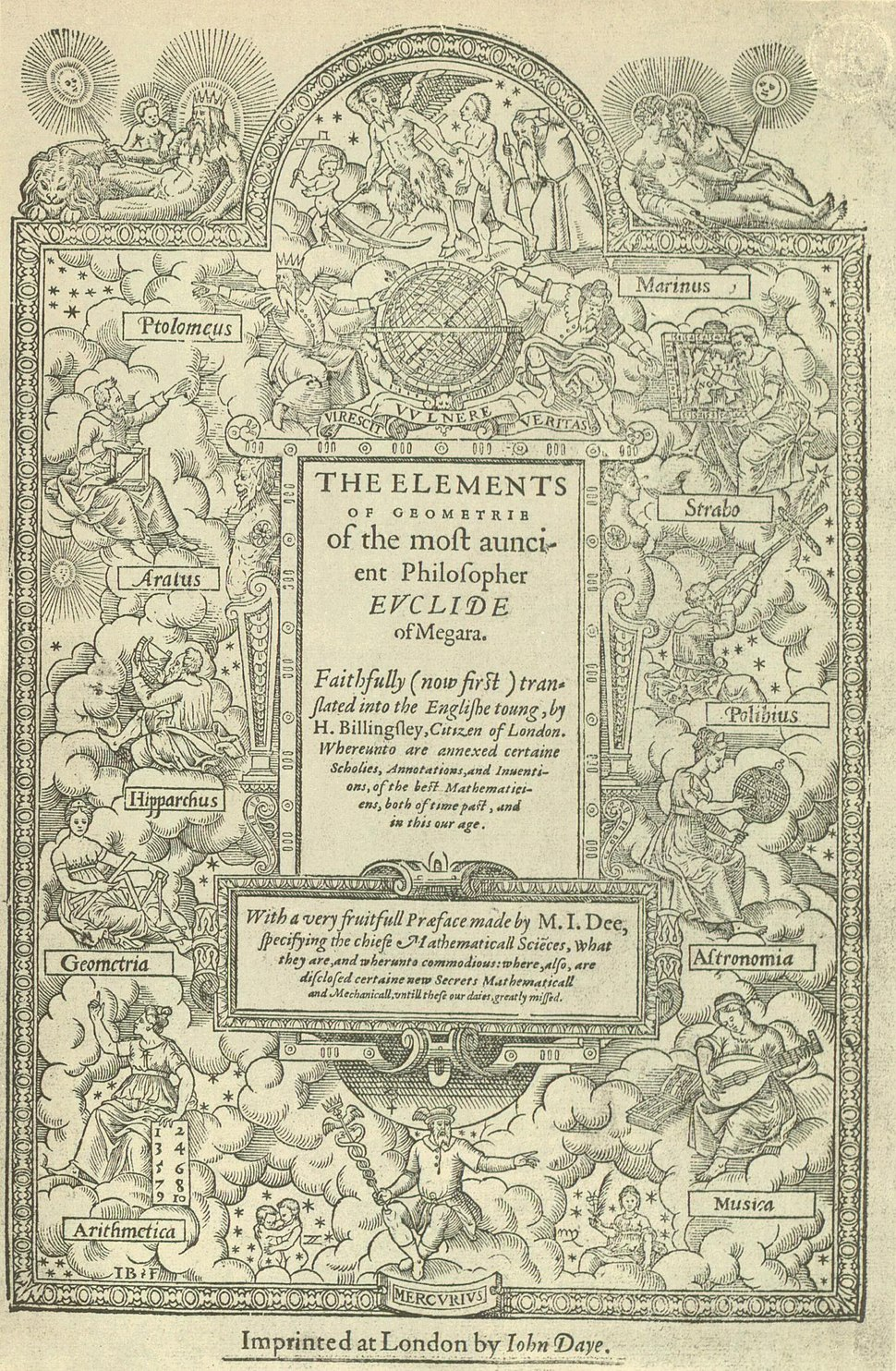 Title page of Sir Henry Billingsley's first English version of Euclid's Elements, 1570 (560x900)