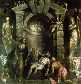 Like so many of his late works, Titian's last painting, the Pietà, is a dramatic scene of suffering in a nocturnal setting. It was apparently intended for his own tomb chapel.