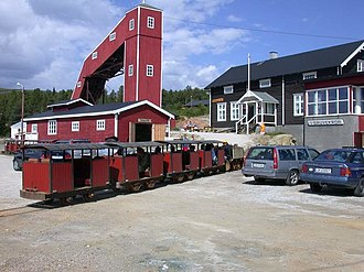 Folldal - Train with tourists heading into the mine. Reprinted with permission from Foundation Folldal Mines