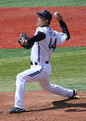 Tomo Ohka, pitcher of the Yokohama BayStars, at Yokohama Stadium.JPG