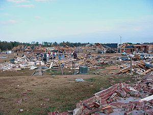 Tornado outbreak of November 23–24, 2001 - F4 damage to a subdivision of Madison, Mississippi, on November 24, 2001 (courtesy of NWS Jackson, Mississippi)
