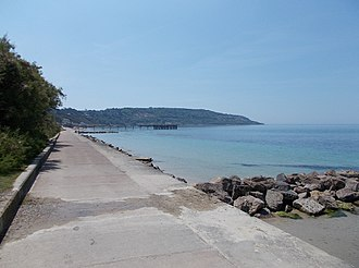 Totland Bay - Totland Bay, with Headon Warren behind (high ground in the distance)