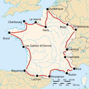 Map of France with 15 cities marked with black dots, connected by red lines.
