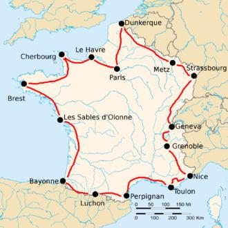 1921 Tour de France - Route of the 1921 Tour de France Followed counterclockwise, starting in Paris