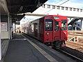 Train of Chikuhi Line arriving at Nishi-Karatsu Station 2.jpg