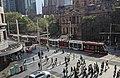 Tram passing Sydney Town Hall in January 2020.jpg