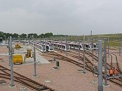 Trams at Gogar Depot (geograph 3505890).jpg
