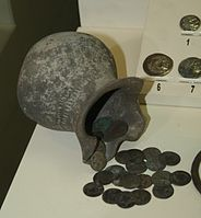 Treasuey from Nuydi with silver coins of Caucasian Albania (copies of Alexander the Great coins).JPG
