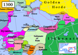 Empire of Trebizond (violet) and surrounding states in 1300