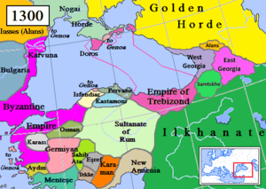 Alexios II of Trebizond - Empire of Trebizond (pink) and surrounding states in 1300