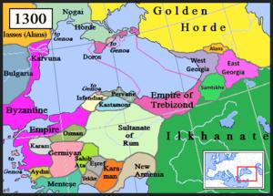 Pervâneoğlu - The Beylik of Pervane (dark blue) in 1300.