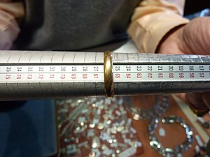 Ring size - A Bergeon ring sizing stick. (ISO 8653:1986 and number scales)