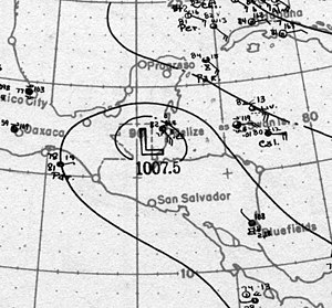 1917 Atlantic hurricane season - Image: Tropical Storm One surface analysis 12 Jul 1917