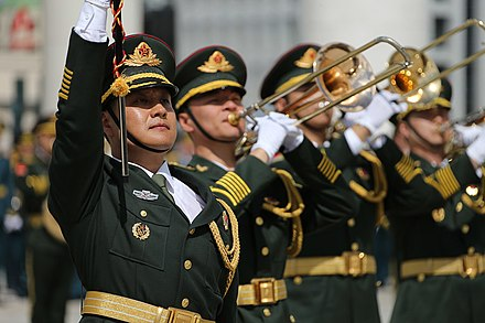 The Central Military Band of the People's Liberation Army is the senior military band in the People's Republic of China. Trumpet of Peace 2016 (3).jpg