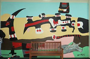 Aubrey Williams - Tumatumari (1970) by Aubrey Williams.  This painting is part of the Timehri series of murals at the Cheddi Jagan International Airport.
