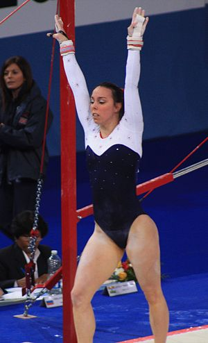 Beth Tweddle - Tweddle on 10 April 2010 during uneven bars qualifications at the Paris World Cup