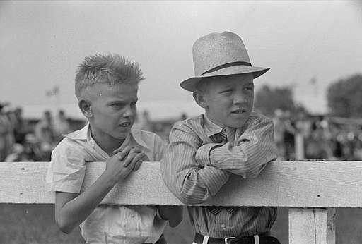 Two Boys Leaning on Fence Donaldsonville LA 1938