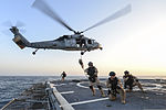 U.S. Coast Guardsmen assigned to Advanced Interdiction Team 4 fast-rope from a Navy MH-60S Seahawk helicopter assigned to Helicopter Sea Combat Squadron (HSC) 26 onto the flight deck of the guided missile 131002-N-QL471-656.jpg