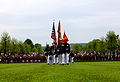 U.S. Marines with the 5th Marine Regiment march onto the parade field during a Memorial Day ceremony May 26, 2013, at the Aisne-Marne American Cemetery and Memorial in Belleau, France 130526-M-XI134-013.jpg