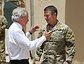 U.S. Sen. Bob Corker of Tennessee, left, talks with U.S. Army Maj. Gen. Scott Miller July 7, 2013, before departing from Camp Integrity, Afghanistan 130707-N-QV903-031.jpg