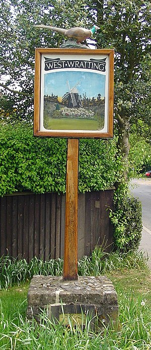 West Wratting - Signpost in West Wratting, which was knocked over in 2013.