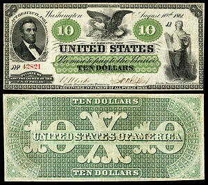 Memorials to Abraham Lincoln - $10 Demand Note issued in 1861, while Lincoln was still alive.