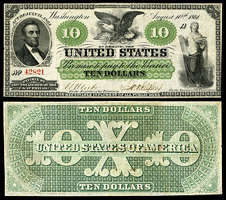 Greenback (1860s money) - Image: US $10 DN 1861 Fr.7