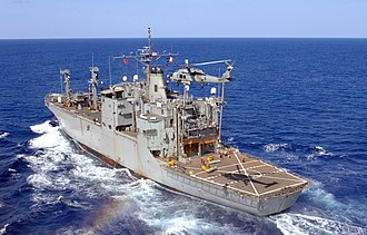 USS Flint (AE-32) - USNS Flint (T-AE-32) in 2007, while deployed as part of the USS Ronald Reagan Carrier Group.