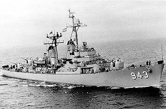 William H. P. Blandy - Image: USS Blandy (DD 943) underway at sea on 19 December 1956