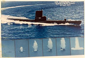 USS Carbonero (SS-337) - Montage of the end of the Carbonero (SS-337); sunk as a target by Pogy (SSN-647) firing a MK48 torpedo off Pearl Harbor, HI, 27 April 1975.