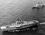 USS Guam (LPH-9) and USS Claude V. Ricketts (DDG-5) en route to Mombasa in 1976.jpg