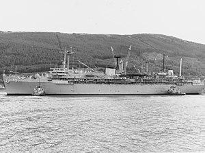 USS Hunley (AS-31) at Holy Loch, Scotland, circa in June 1992 (NH 96831).jpg