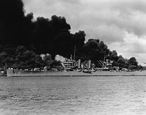 USS Phoenix (CL-46) - Image: USS Phoenix (CL 46) steams down the channel at Pearl Harbor on 7 December 1941 (NH 50766)