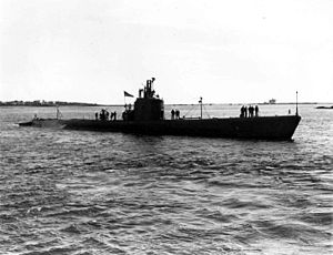 USS Runner (SS-275), probably photographed during her shakedown period while off the Portsmouth Navy Yard between 30 May & October 1942.